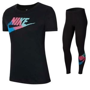 Nike Black Tee And Tights-SZ. L